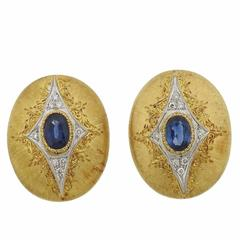 Mario Buccellati Gold Sapphire Diamond Earrings