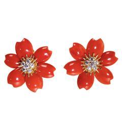Van Cleef & Arpels Incredible Coral Diamond Gold 'Rose de Noel' Earclips