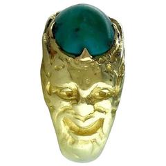 1900S French Art Nouveau Turquoise and Gold Ring