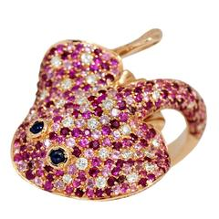 Ray Fish White Diamond Pink and Blue Sapphire Ruby Gold Ring