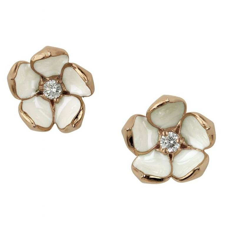 Silver Rose Gold Vermeil Cherry Blossom Stud Earrings
