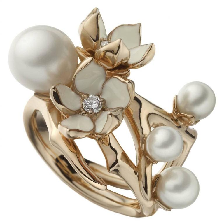 Silver Rose Gold Vermeil Cherry Blossom Ring with Freshwater Pearls and Diamonds