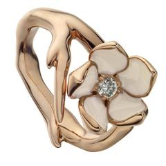 Silver Rose Gold Vermeil Cherry Blossom Ring with Diamond and Enamel