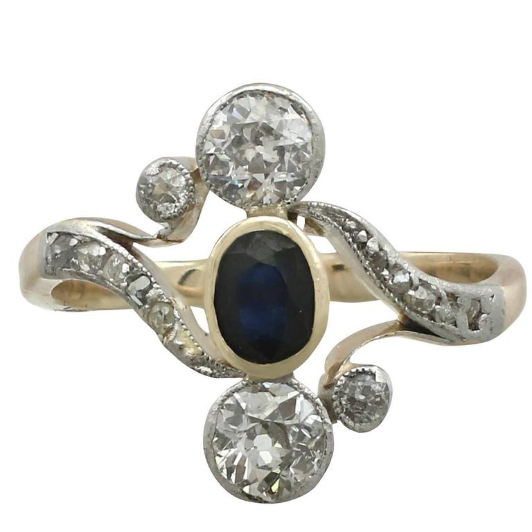 Antique Sapphire and Diamond, Yellow Gold Twist Ring