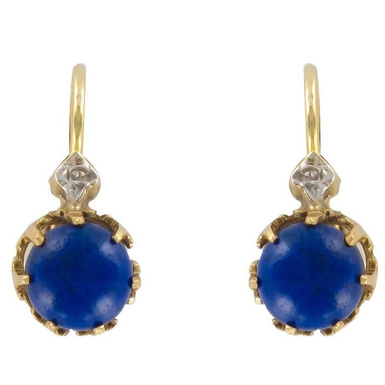 French 19th Century Lapis Lazuli Drop Earrings