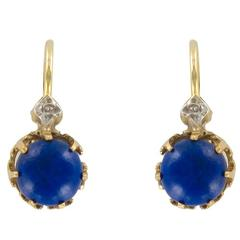 French 19th Century Lapis Lazuli Drop Earrings
