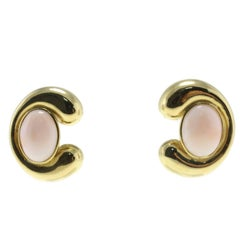 Pink Coral Buttons, 18K Yellow Gold Clip-on/Stud Earrings