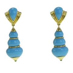 Green Tourmaline, Turquoise Gold Clip-On Earrings