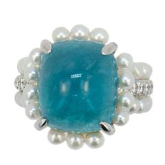 Laura Munder Paraiba Tourmaline Diamond Cultured Pearl White Gold Ring