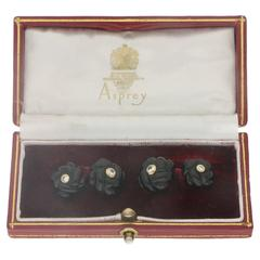 Asprey Carved Onyx and Diamond Gold Cufflinks