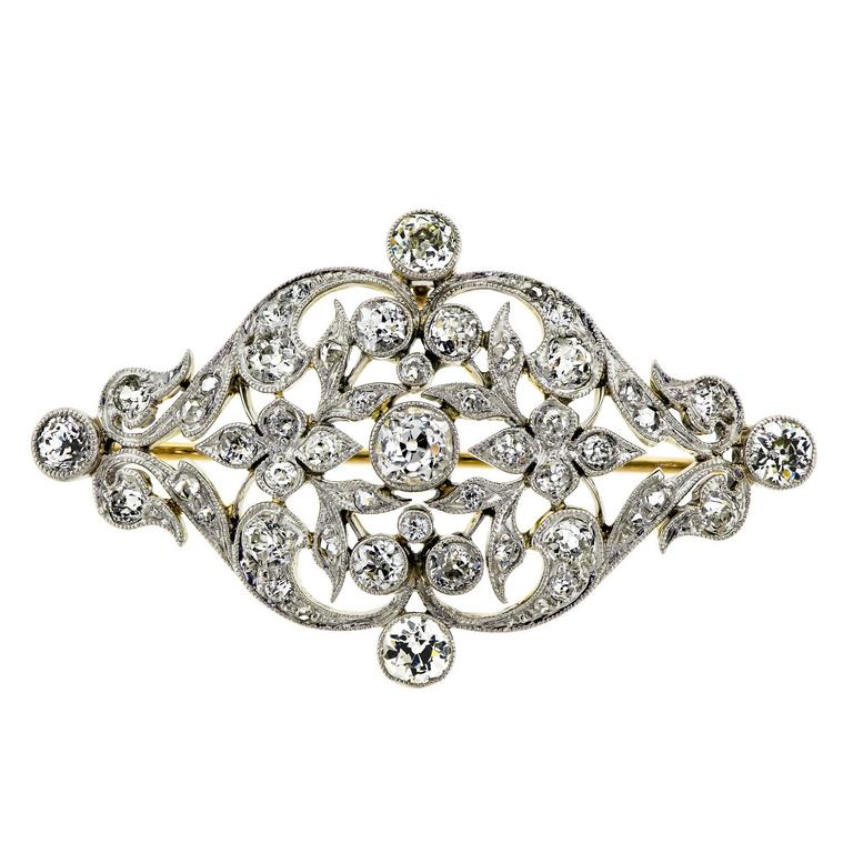 b54abf718 Edwardian Platinum Topped Diamond Brooch For Sale at 1stdibs