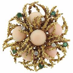 1970s Gold Coral Emerald Diamond Brooch Pin