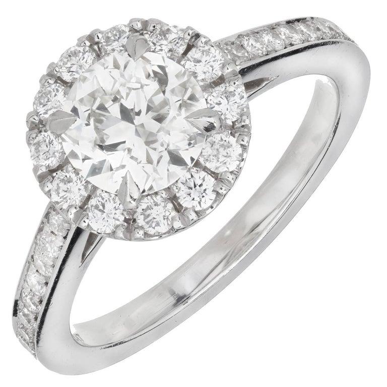 Peter Suchy GIA Certified 1.24 Carat White Diamond Halo Platinum Engagement Ring