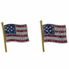 Platinum Gold Diamond Ruby Sapphire American Flag Cufflinks