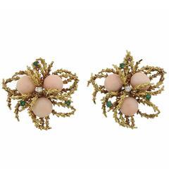 1970s Gold Coral Emerald Diamond Earrings