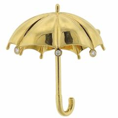 Tiffany & Co. Gold Diamond Umbrella Brooch Pin