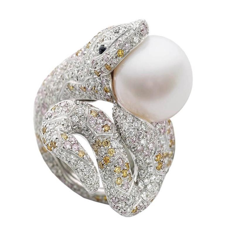 Snake White Yellow Pink Diamonds Blue Sapphire Australian Pearl Gold Ring