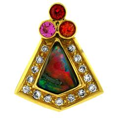 Crevoshay One of a Kind Boulder Opal, Sapphire, Spinel and Diamond Pendant.