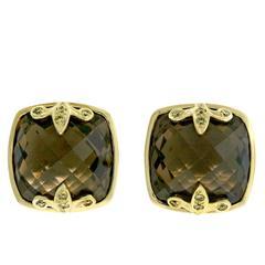 Crevoshay One of a Kind Boulder Brown Diamond and Smokey Quartz Earrings.
