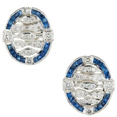 Art Deco Sapphire Diamond Platinum Open Work Earrings