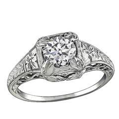 Vintage GIA Certified 0.93 Carat Diamond Engagement Ring