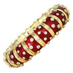 Tiffany & Co Schlumberger Red Paillonne Diamond Bangle