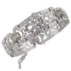 10.75 Carat Diamond Art Deco Platinum Bracelet