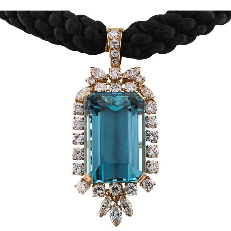36.00 Carat Aquamarine Diamond Enhancer Pendant