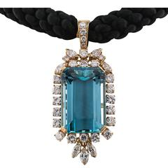 36.00 Carat Aquamarine Diamond Enhancer Pendant