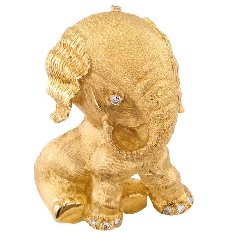 Tiffany & Co. Diamond Gold Elephant Brooch Pendant