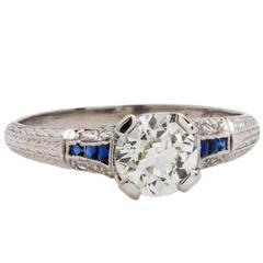 1920s Antique Diamond Engagement Ring Platinum 0.94ct Old European Cut I/SI1
