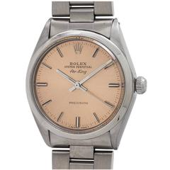 Rolex Stainless Steel Oyster Perpetual Airking Antique Salmon Wristwatch c. 1970