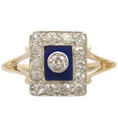 1940s Diamond and Blue Enamel Yellow Gold Dress Ring