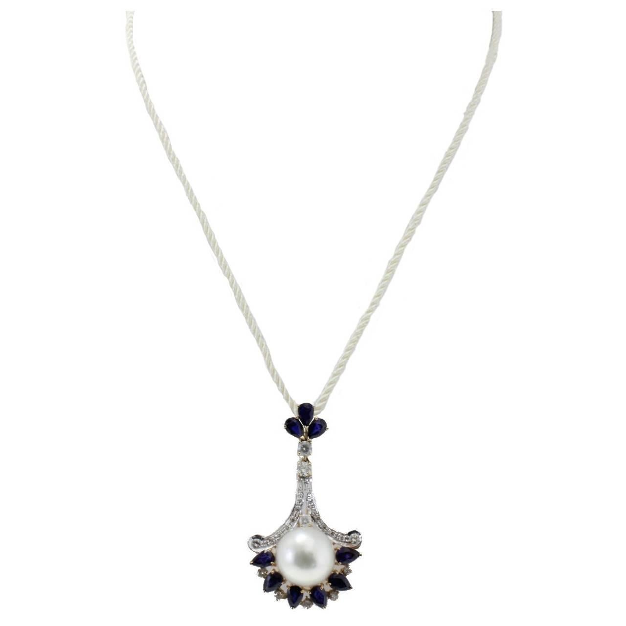 Diamonds Blue Sapphires and Pearl Pendant Gold  Necklace