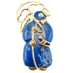 Tiffany & Co. Lapis Lazuli Yellow Gold Penguin Brooch