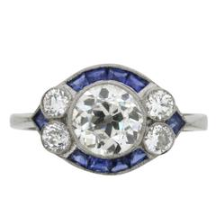 Vintage 1.28 Carat Old Cut Diamond Ring with Sapphire Accents, circa 1940s