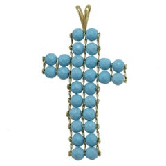 18 kt Gold paste turquoise Pendant Necklace
