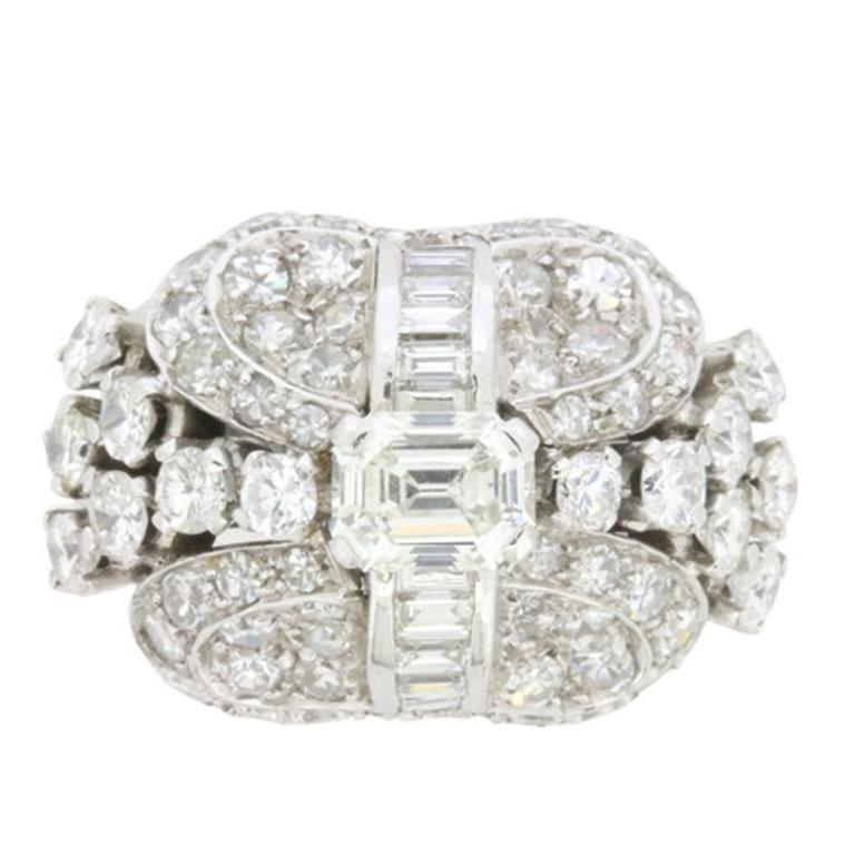 Art Deco Style 3.28 Carat Diamond Cluster Cocktail Ring