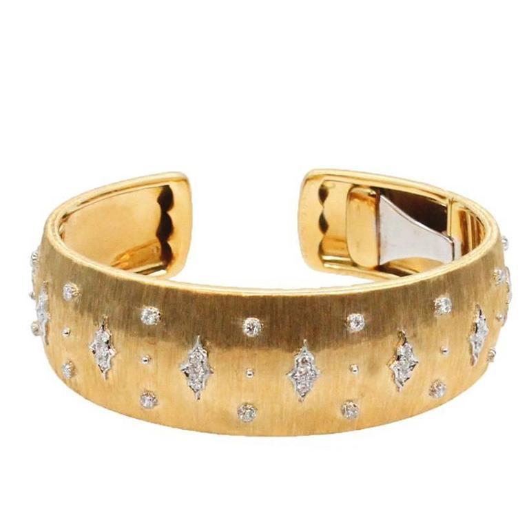 18 Karat Yellow and White Gold Buccellati Cuff Bracelet