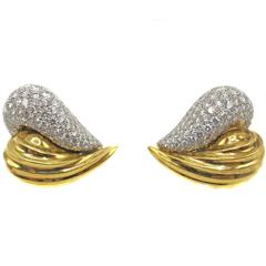 Chic Diamond Two-Color Gold Ear Clips