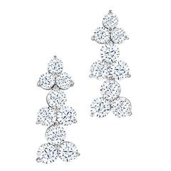 8.83 Carat Round Brilliant Cut Diamond Platinum Dangle Earrings