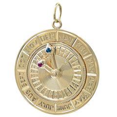 Large Gemset Gold Perpetual Calendar Charm