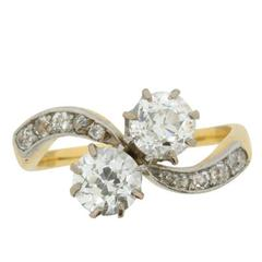 Edwardian EDR Certified 1.66 Carat Diamond Crossover Ring with Set Shoulders