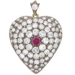 Vintage Heart-Shaped Diamond and Ruby Pendant, circa 1940s
