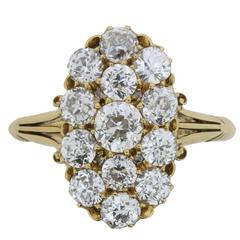 Victorian 3.40 Old Cut Diamond Cluster Ring, circa 1880s