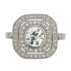 Late Art Deco 1.58 Carat Old Cut Diamond Double Halo Ring, circa 1930s