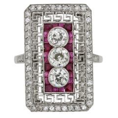 Art Deco Diamond and Ruby Ring, circa 1920s