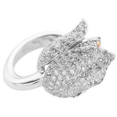 Tulip White Diamond 18Kt Gold Ring