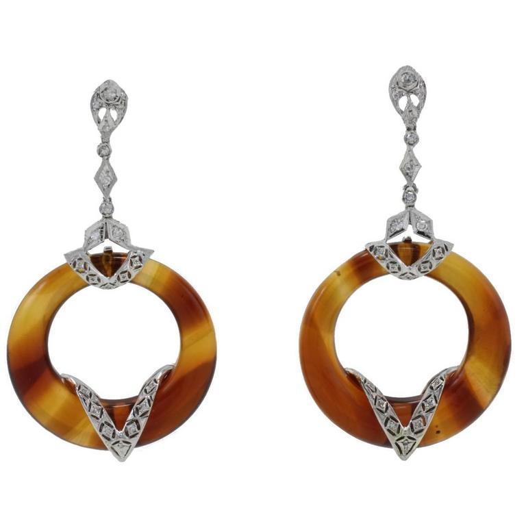 Diamonds Hard Stones Gold Dangle Earrings
