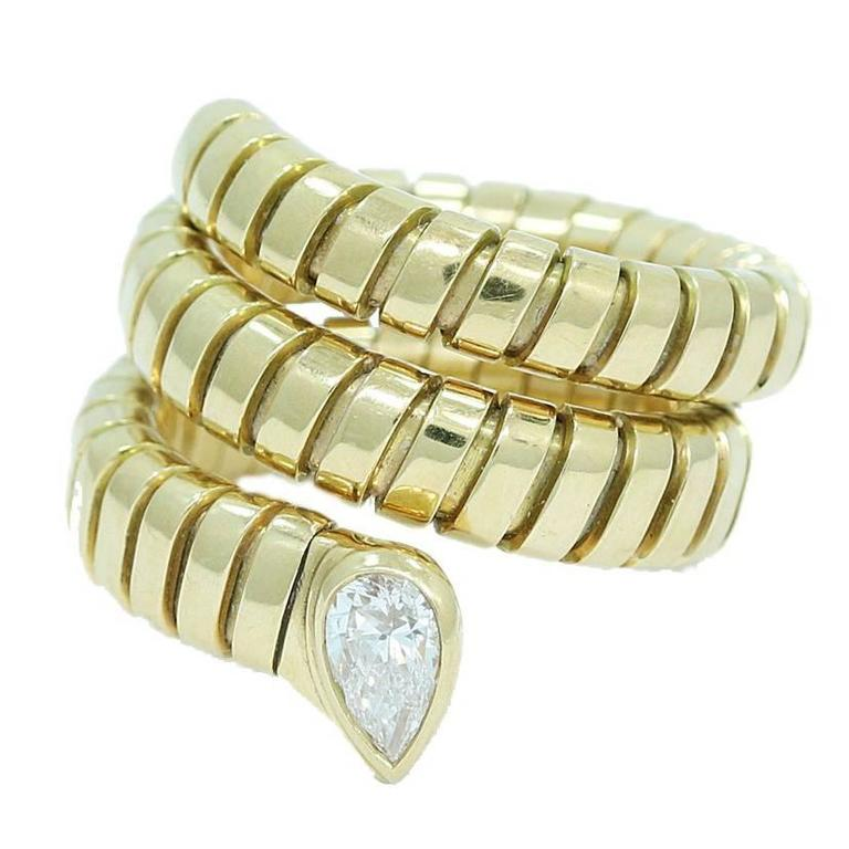 Bulgari Tubogas Gold Coil Snake Ring with Pear Shaped Diamond